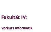 Vorkurs Informatik 2013